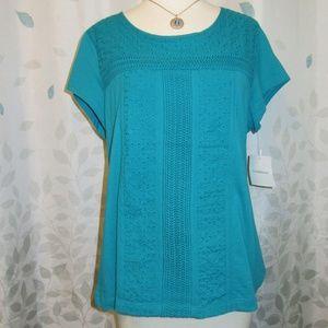 Croft & Barrow Short Sleeve Shirt-Peite Large-NWT